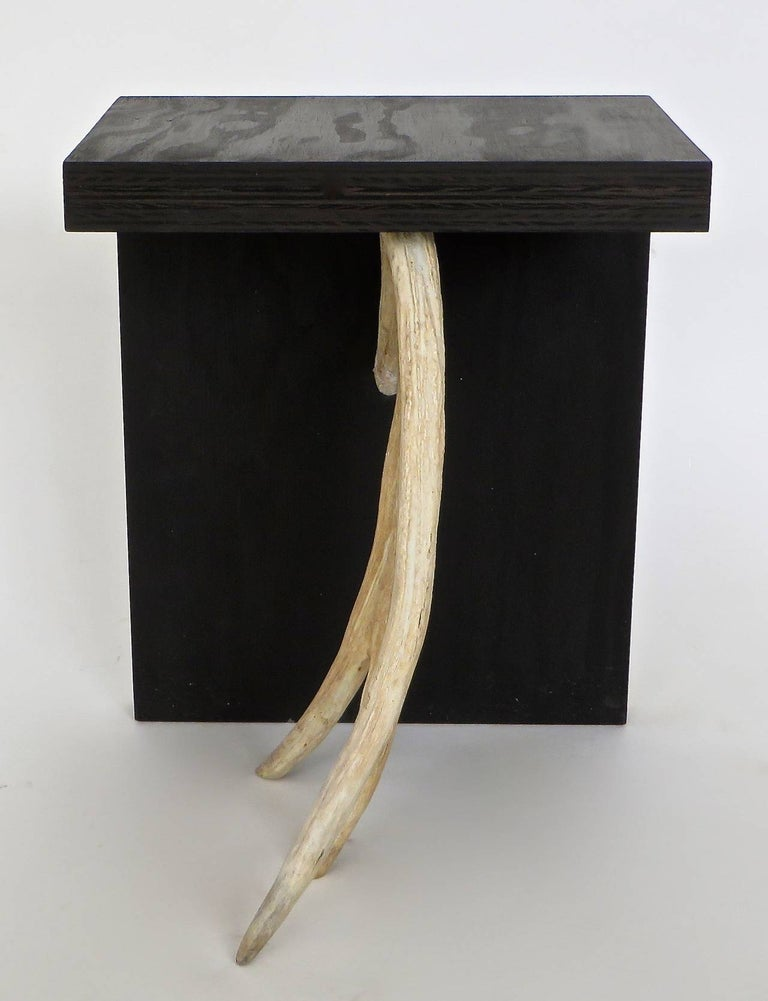 Contemporary Rick Owens Stag T Stool in Black Stained Wood For Sale