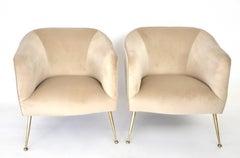 Pair of Italian Lounge Chairs on Brass Legs Mid-Century Isa, Bergamo Italy