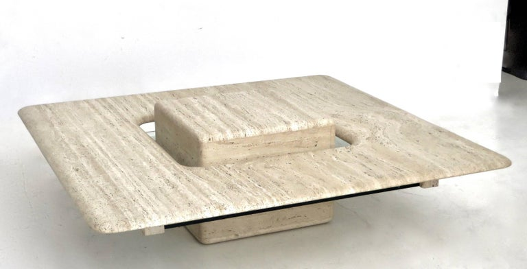 Late 20th Century French Travertine Minimalist Low Coffee Table with Floating Cube circa 1970 For Sale