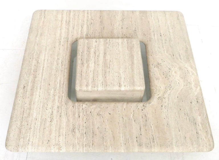 French Travertine Minimalist Low Coffee Table with Floating Cube circa 1970 For Sale 2