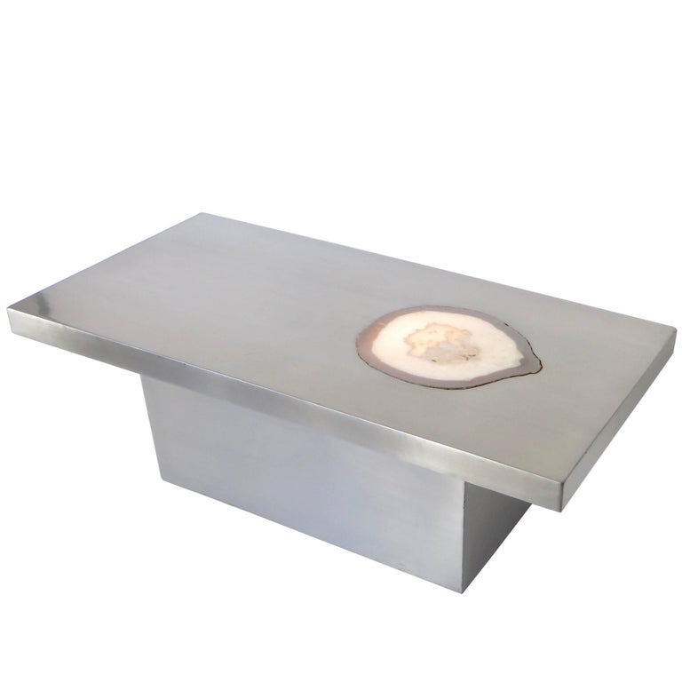 French Stainless Steel Inlaid Agate Coffee Table with Illumination from below For Sale