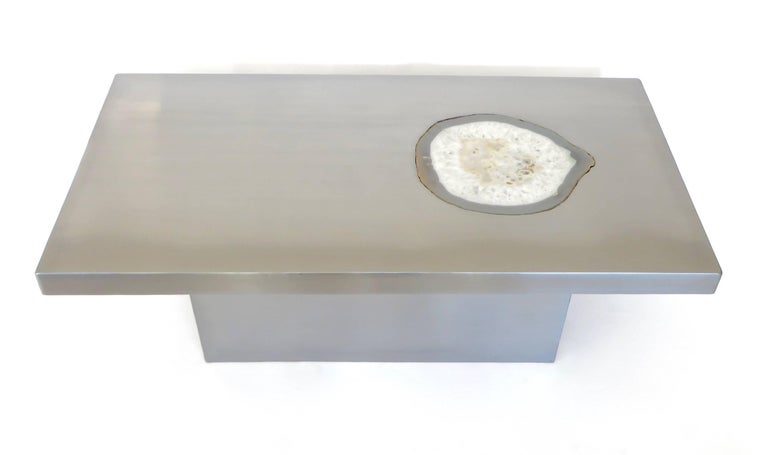 French Stainless Steel Inlaid Agate Coffee Table with Illumination from below For Sale 1