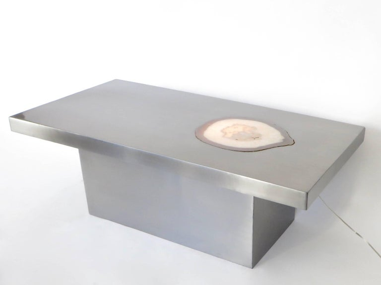French Stainless Steel Inlaid Agate Coffee Table with Illumination from below For Sale 4