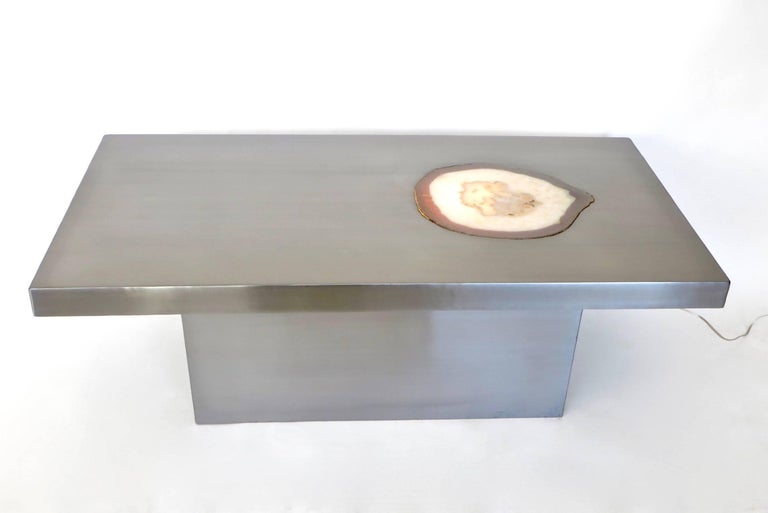 French Stainless Steel Inlaid Agate Coffee Table with Illumination from below For Sale 5