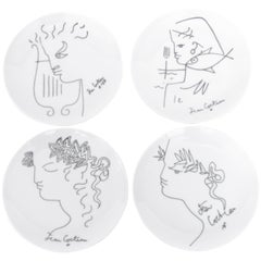 Jean Cocteau French Limoges Set of Four Ceramic Dessert Plates, circa 1958