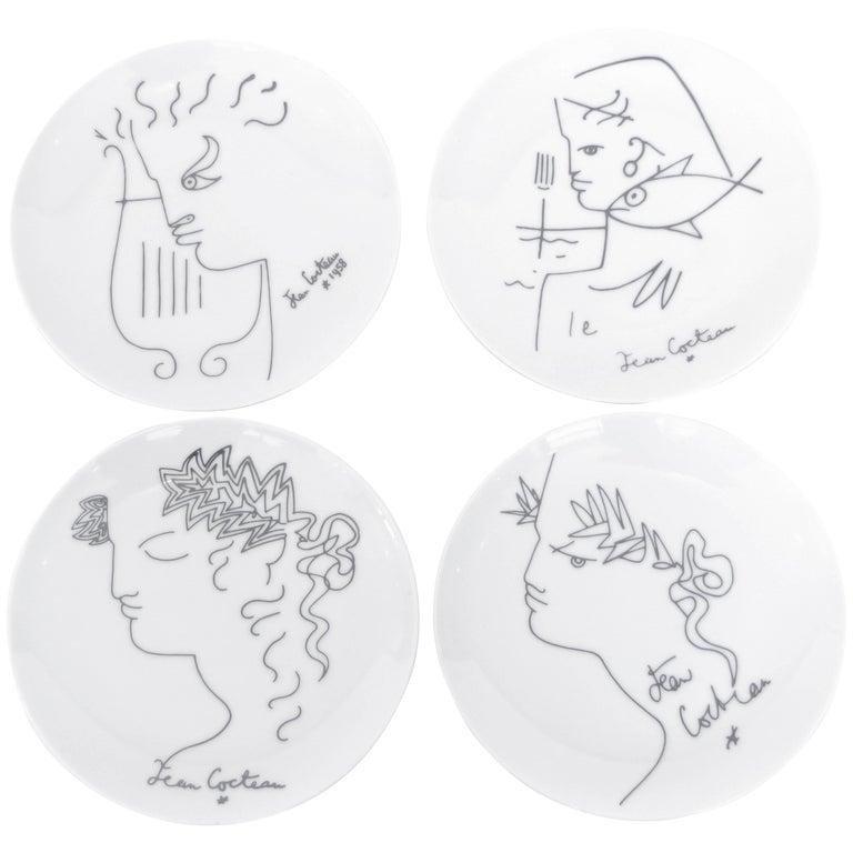 Jean Cocteau French Limoges Set of Four Ceramic Dessert Plates, circa 1958 For Sale