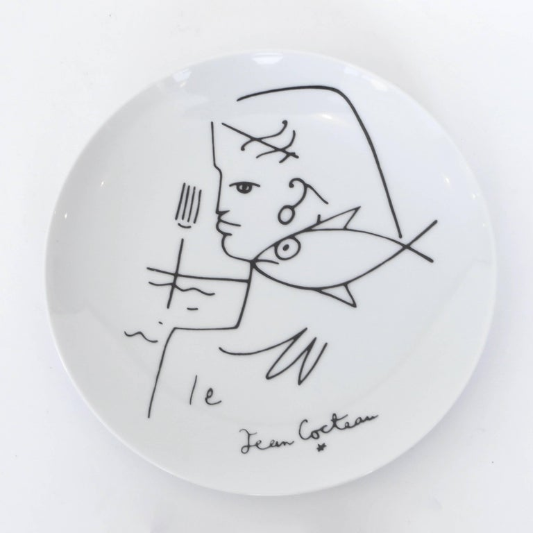 Jean Cocteau French Limoges Set of Four Ceramic Dessert Plates, circa 1958 In Excellent Condition For Sale In Chicago, IL