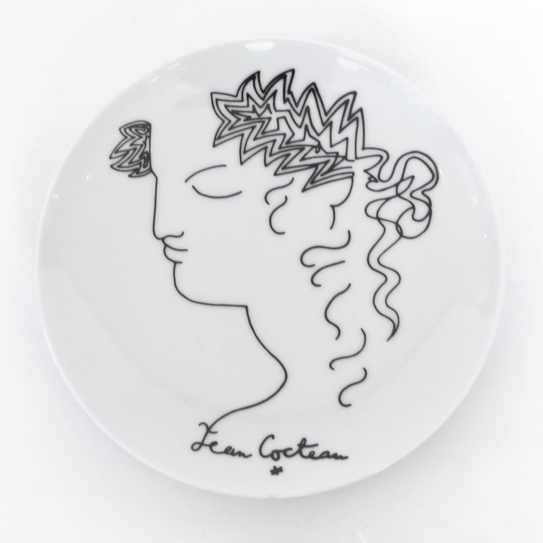 Mid-20th Century Jean Cocteau French Limoges Set of Four Ceramic Dessert Plates, circa 1958 For Sale