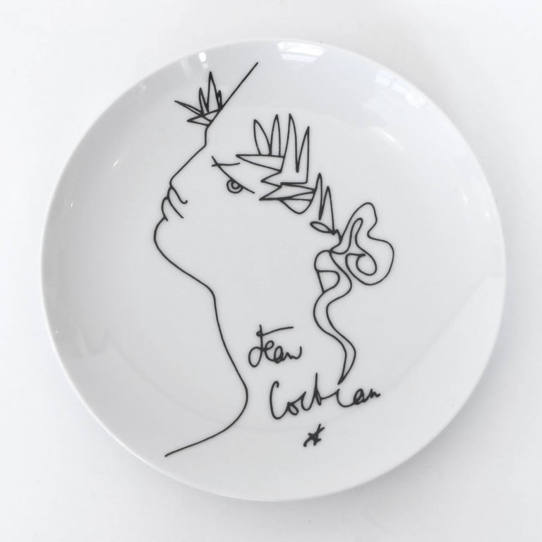 Jean Cocteau French Limoges Set of Four Ceramic Dessert Plates, circa 1958 For Sale 1