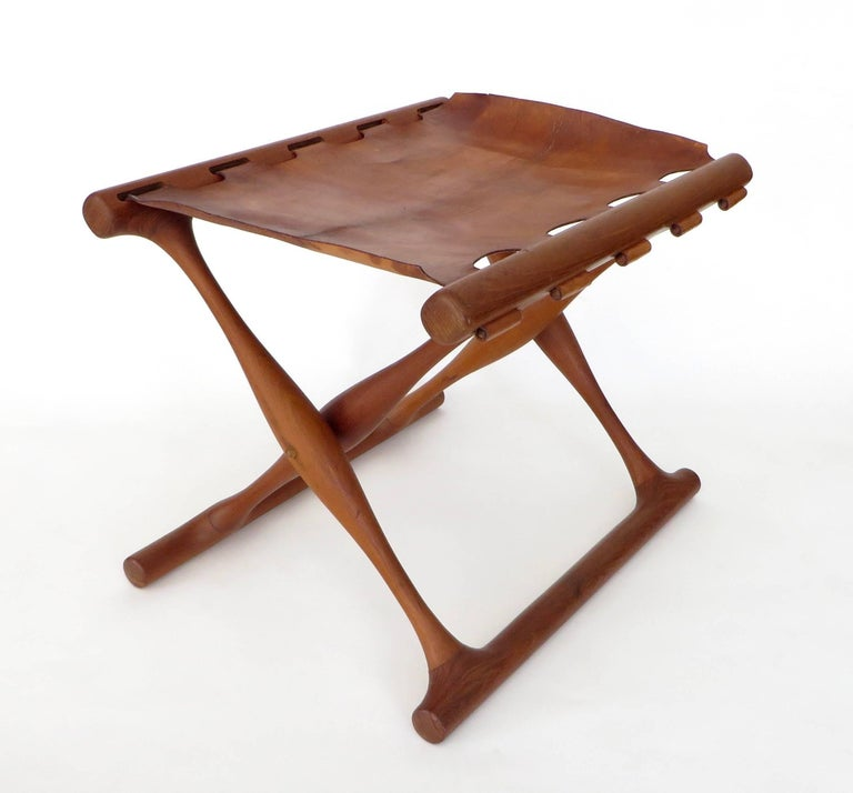 Scandinavian Modern Poul Hundevad Danish Folding Stool PH 43 For Sale