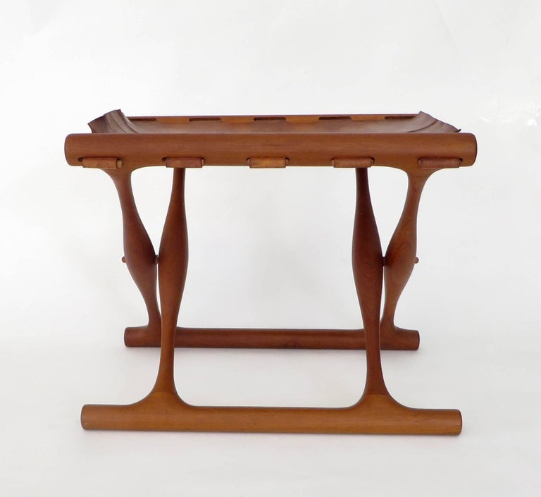 Leather Poul Hundevad Danish Folding Stool PH 43 For Sale