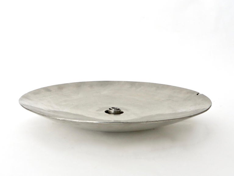 Mid-Century Modern French Inox or Zinc Flower Dish For Sale