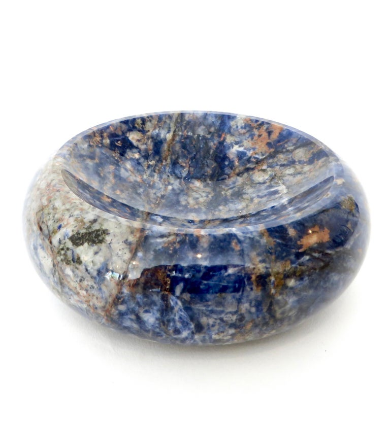Mid-20th Century Italian Rounded Edge Bowl in Italian Blue Marble For Sale