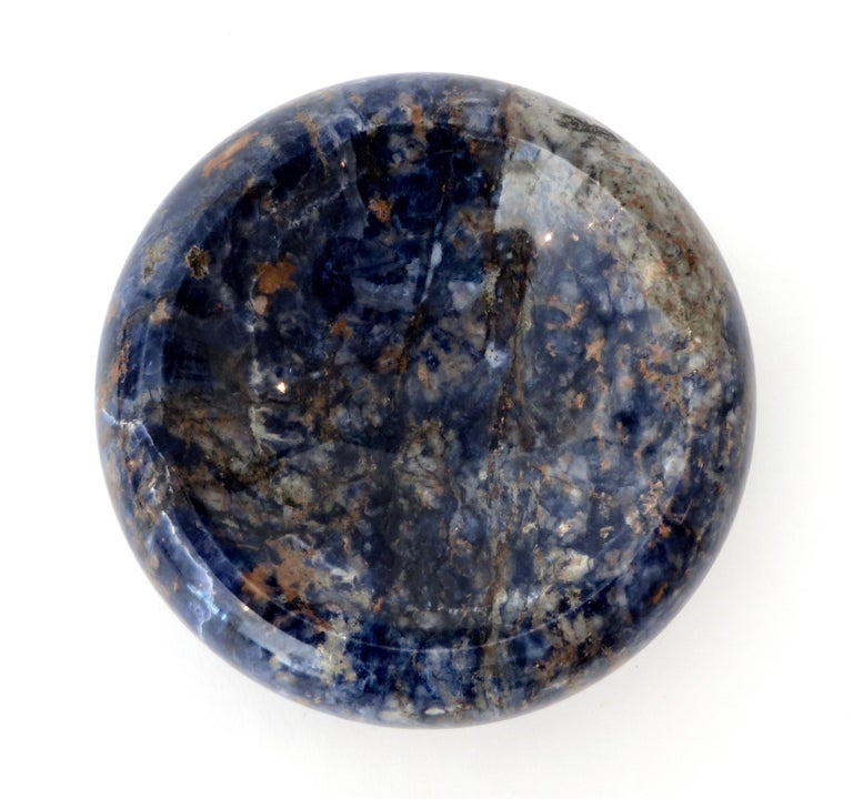 Italian Rounded Edge Bowl in Italian Blue Marble For Sale 7
