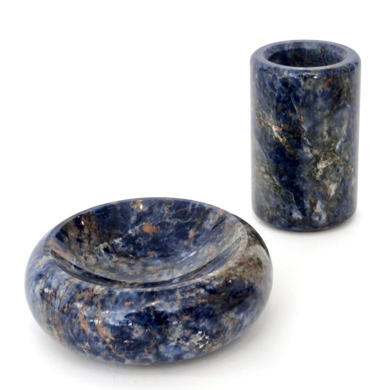 Italian Rounded Edge Bowl in Italian Blue Marble For Sale 10
