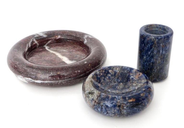Italian Rounded Edge Bowl in Italian Blue Marble For Sale 11