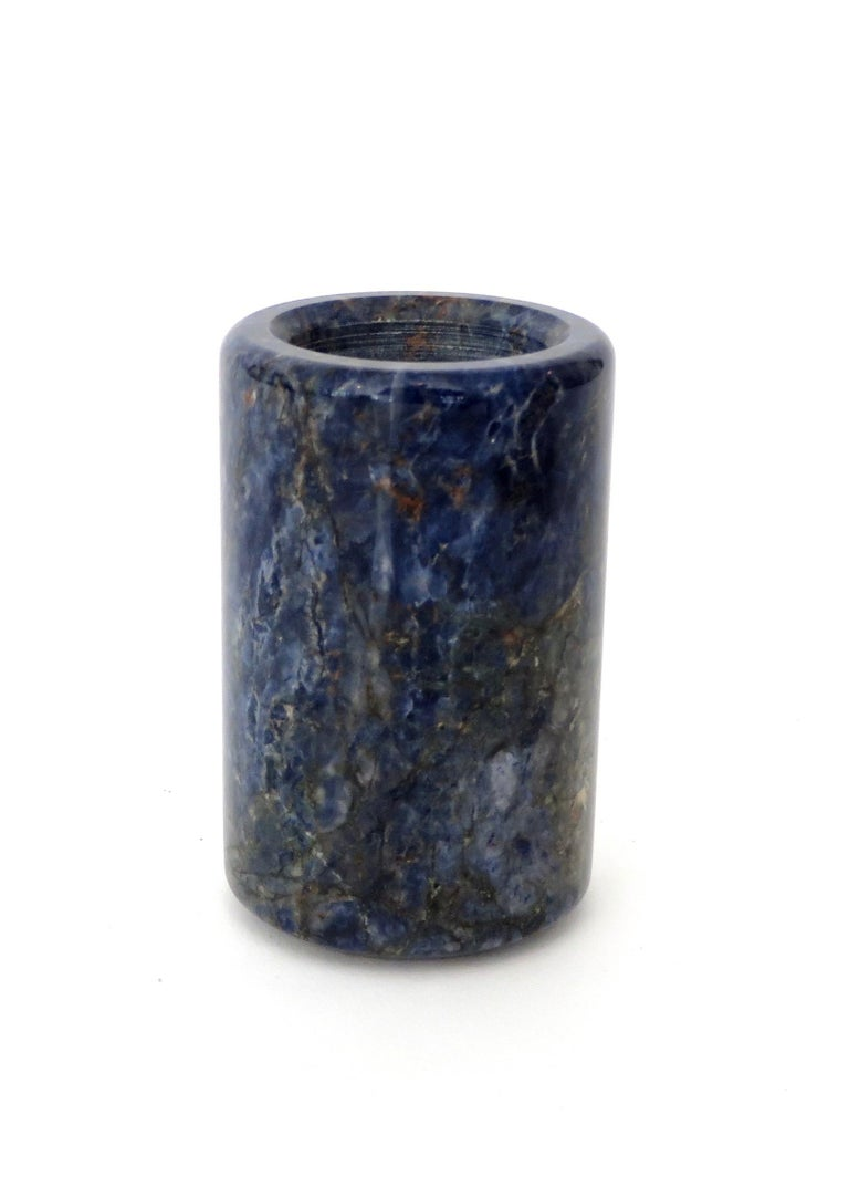 Italian small cylinder or candleholder in heavily veined Italian bowl in stunning blue lapis color blue multi-color marble in the style of Sergio Asti for UP&UP.