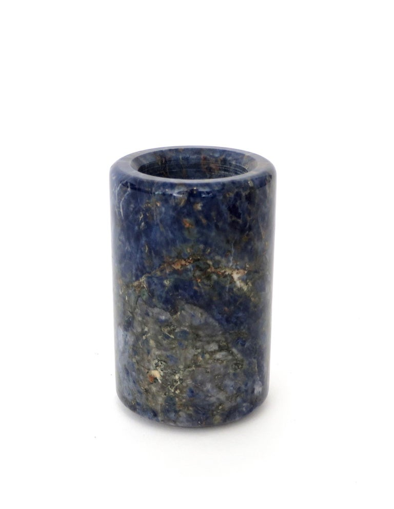 Mid-Century Modern Small Cylinder or Candleholder in Blue Marble For Sale