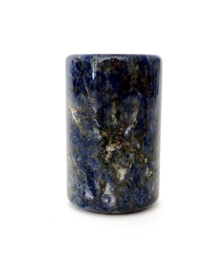 Small Cylinder or Candleholder in Blue Marble In Excellent Condition For Sale In Chicago, IL