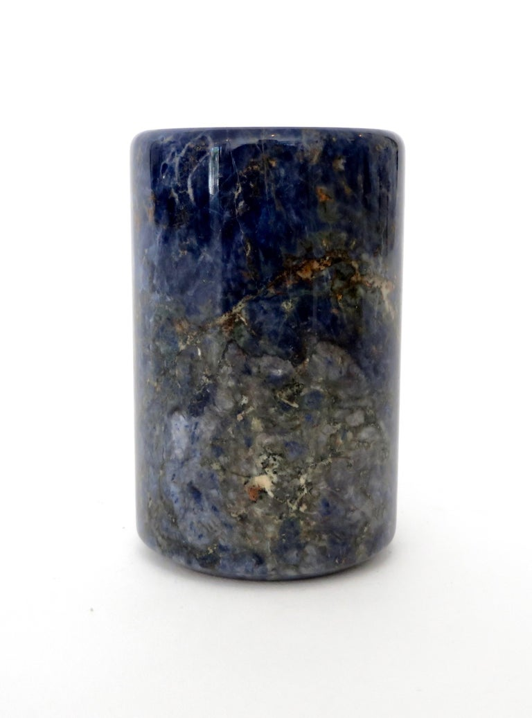 Italian Small Cylinder or Candleholder in Blue Marble For Sale