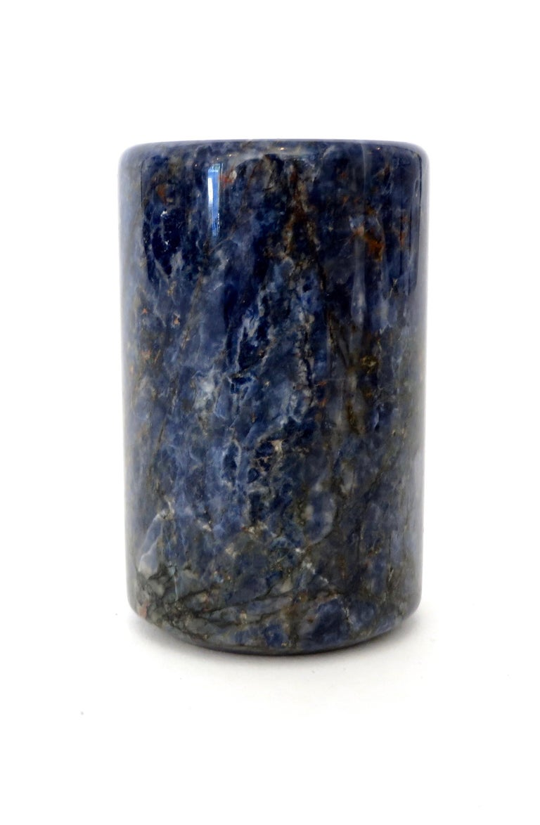 Small Cylinder or Candleholder in Blue Marble For Sale 1