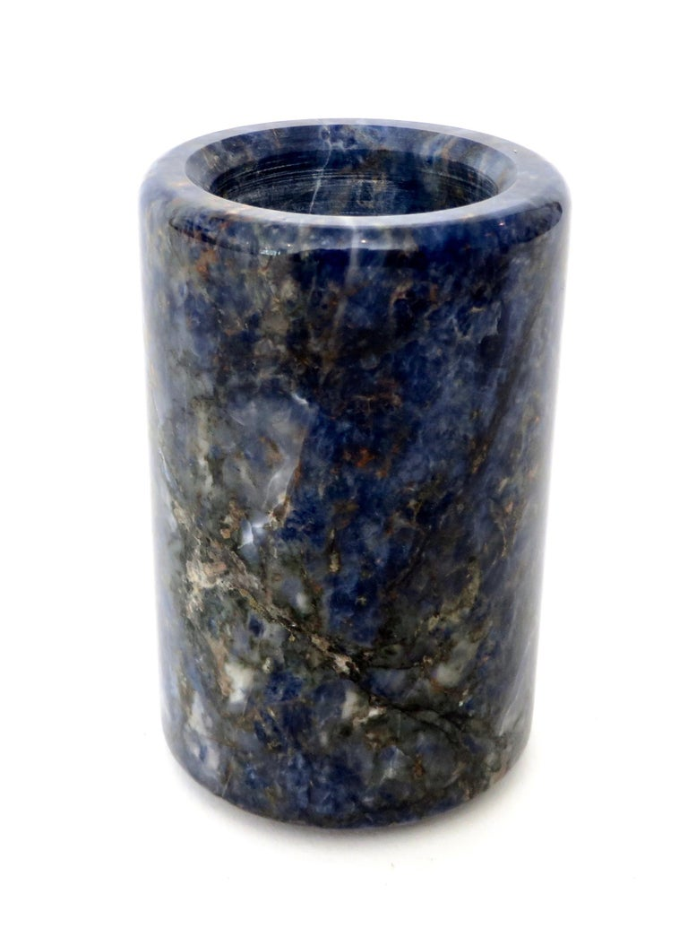 Small Cylinder or Candleholder in Blue Marble For Sale 3