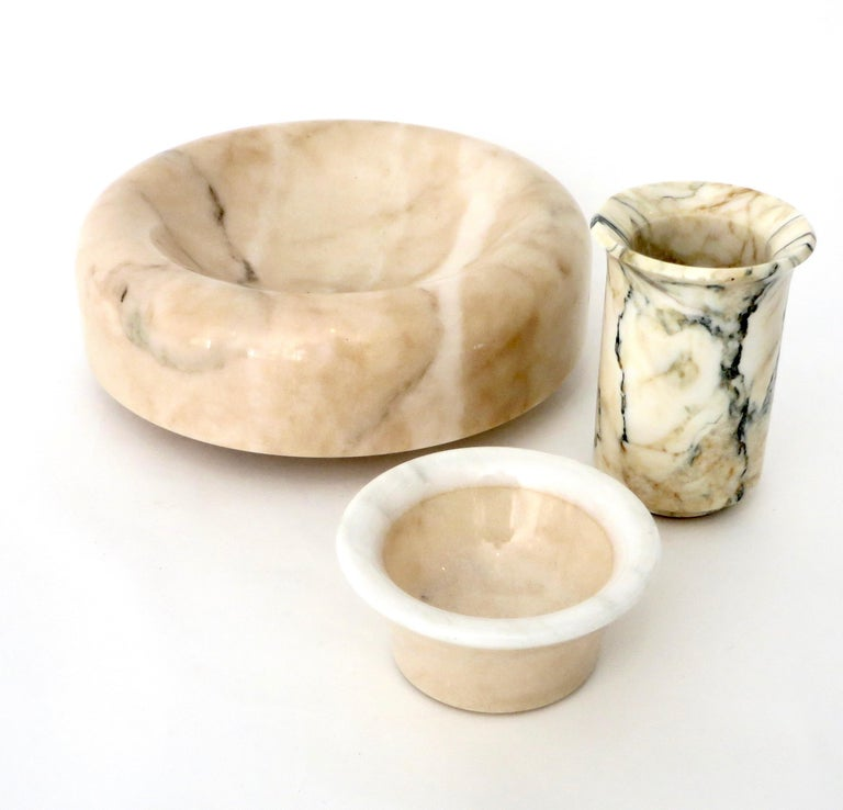 Italian Cream and White Marble Bowl Dish or Vide Poche For Sale 6
