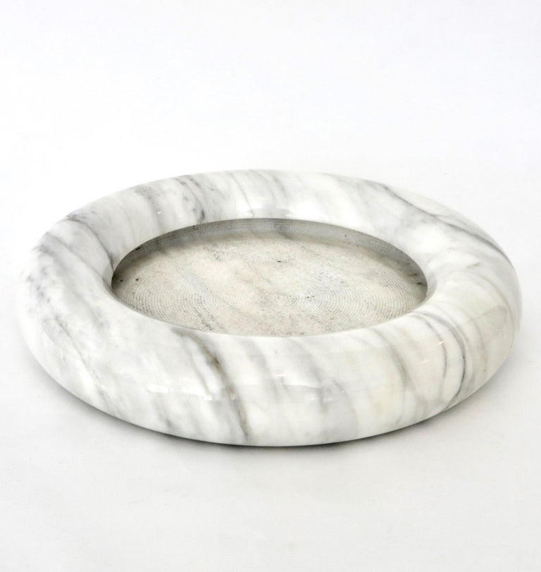 Up & Up White Marble Dish or Bowl by Egidio Di Rosa and Pier Alessandro Giusti For Sale 2