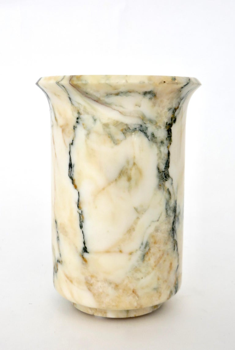 Italian Marble Cream Gold Blue Black Green Veined Vase For Sale 2