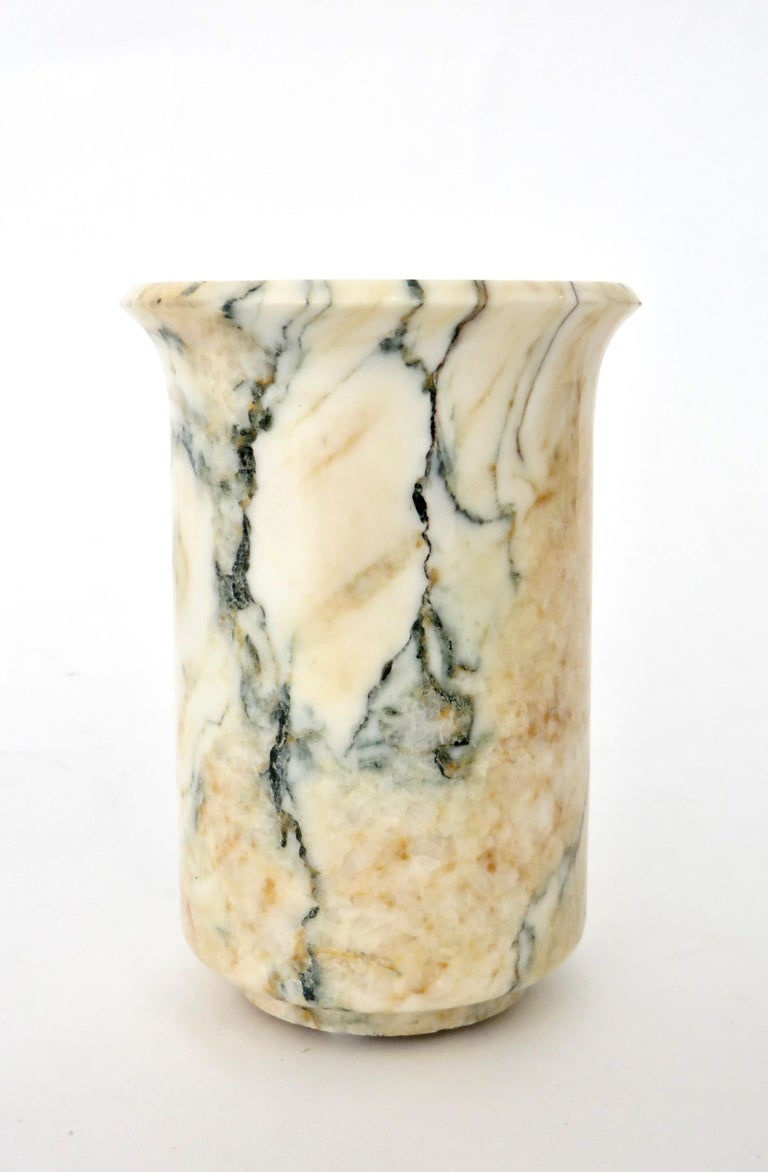 Italian Marble Cream Gold Blue Black Green Veined Vase For Sale 3