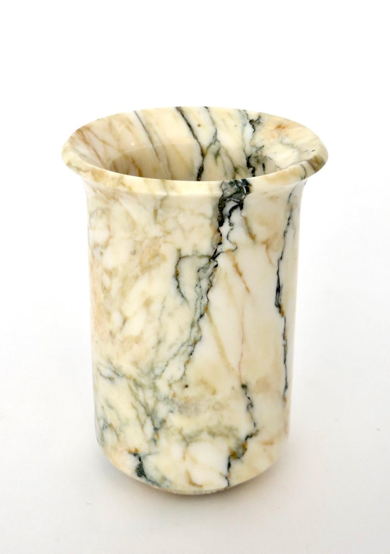 Italian Marble Cream Gold Blue Black Green Veined Vase For Sale 4