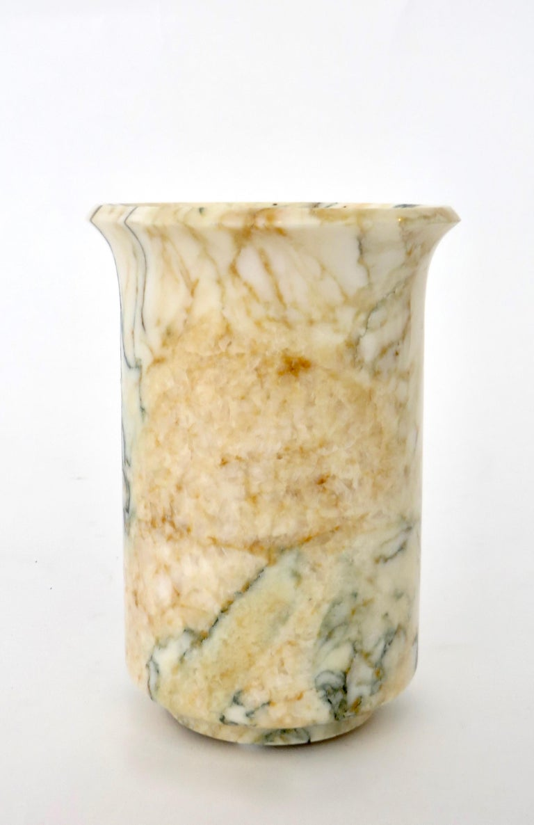 Italian Marble Cream Gold Blue Black Green Veined Vase For Sale 7