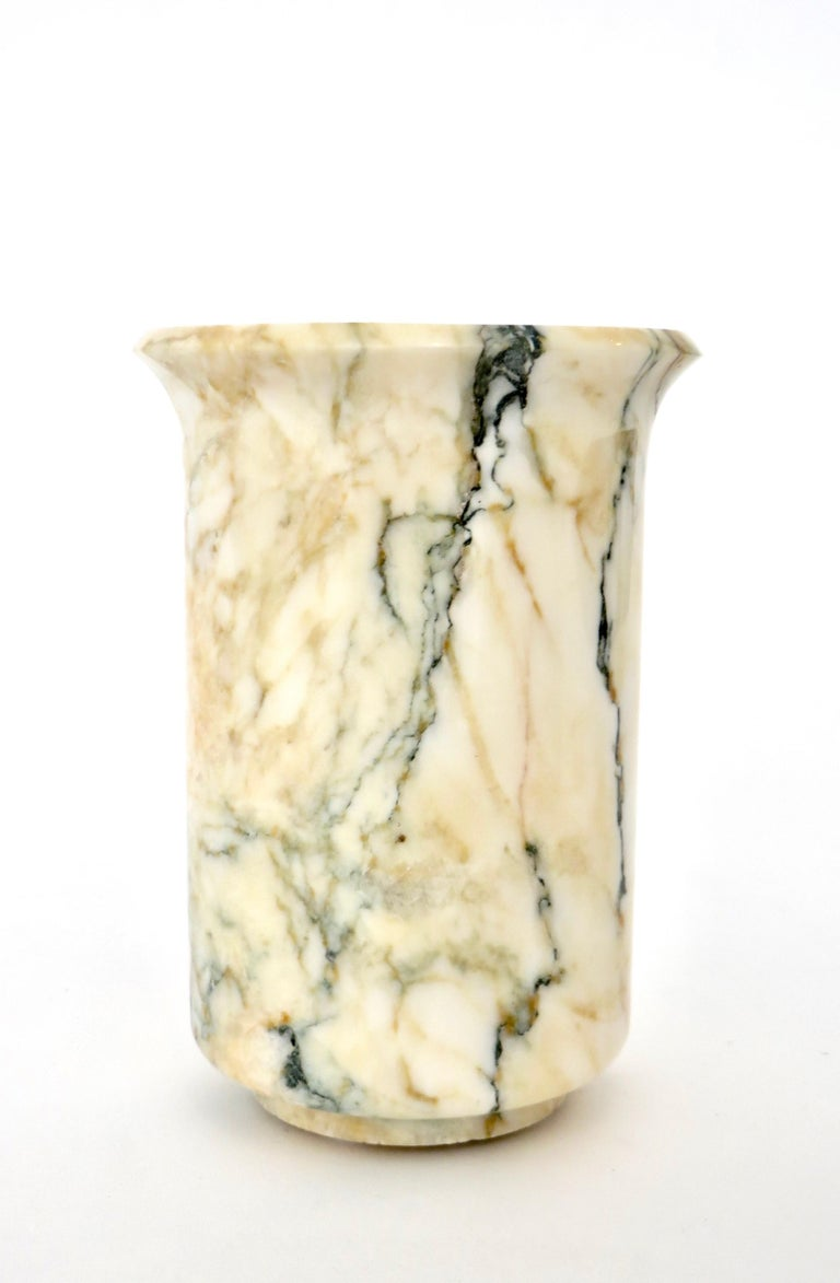 Italian Marble Cream Gold Blue Black Green Veined Vase For Sale 5