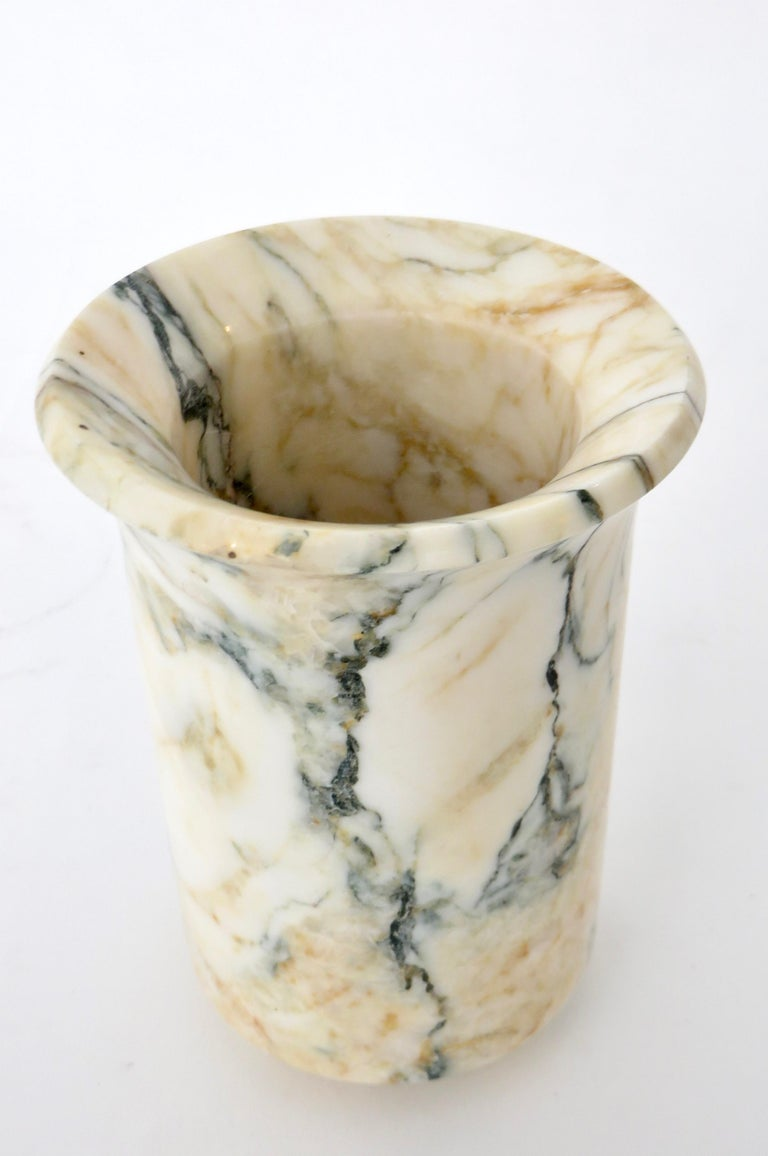 Italian Marble Cream Gold Blue Black Green Veined Vase For Sale 8
