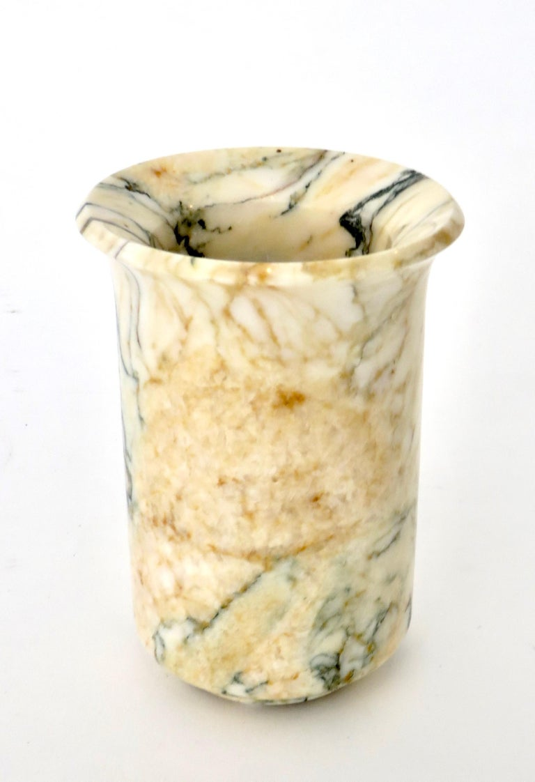 Italian Marble Cream Gold Blue Black Green Veined Vase For Sale 10