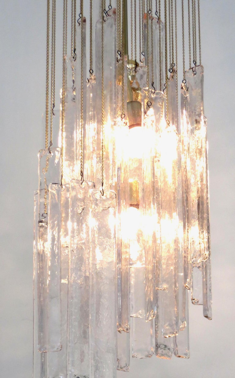Mazzega Cascade Italian Murano Glass Extra Long Chandelier In Excellent Condition For Sale In Chicago, IL