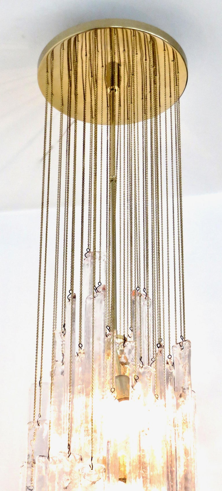Mazzega Cascade Italian Murano Glass Extra Long Chandelier For Sale 2
