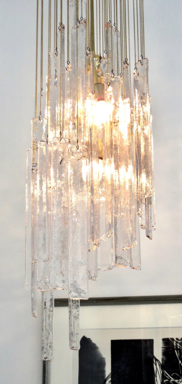 Mid-20th Century Mazzega Cascade Italian Murano Glass Extra Long Chandelier For Sale