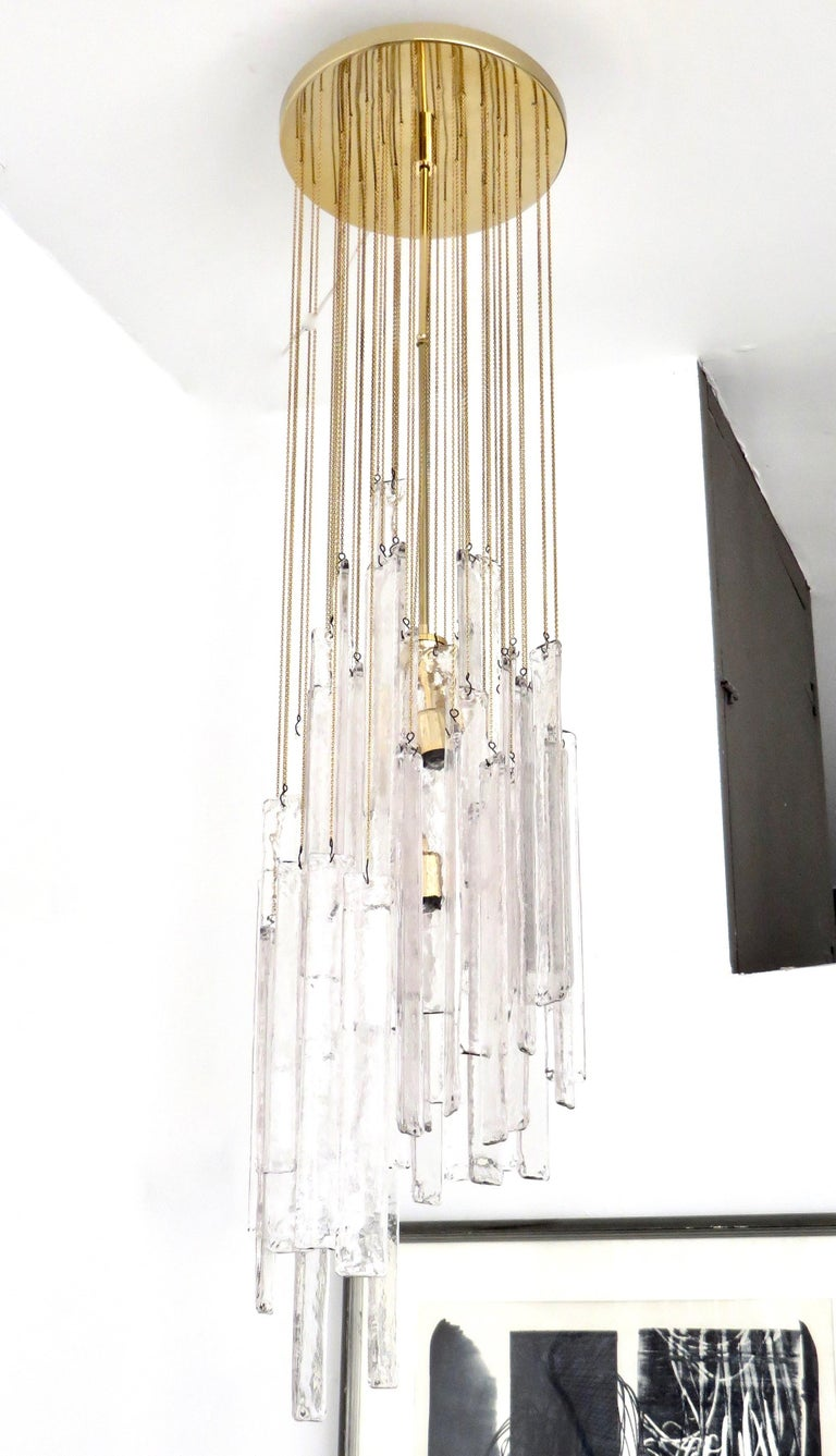 Mid-Century Modern Mazzega Cascade Italian Murano Glass Extra Long Chandelier For Sale