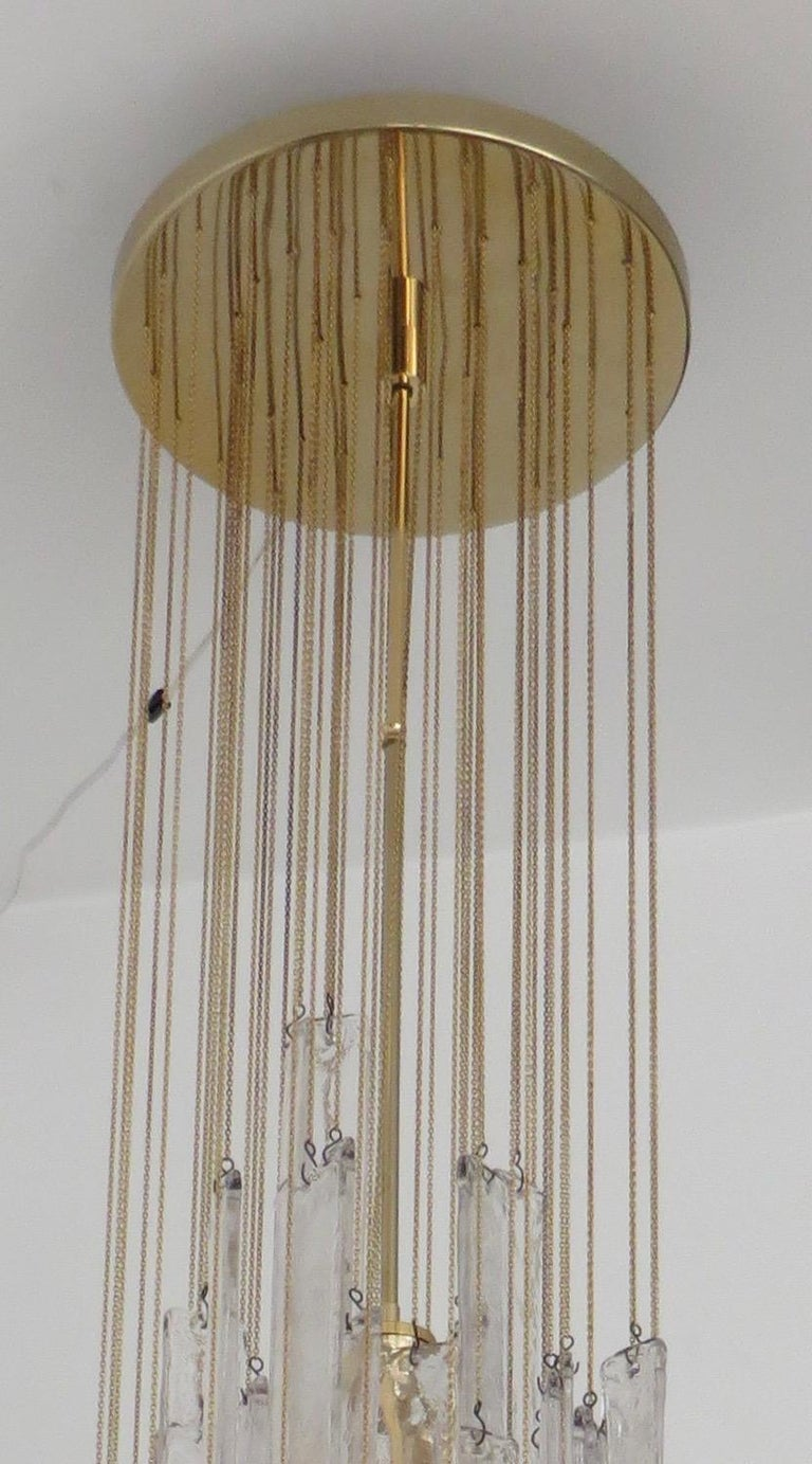 Mazzega Cascade Italian Murano Glass Extra Long Chandelier For Sale 7