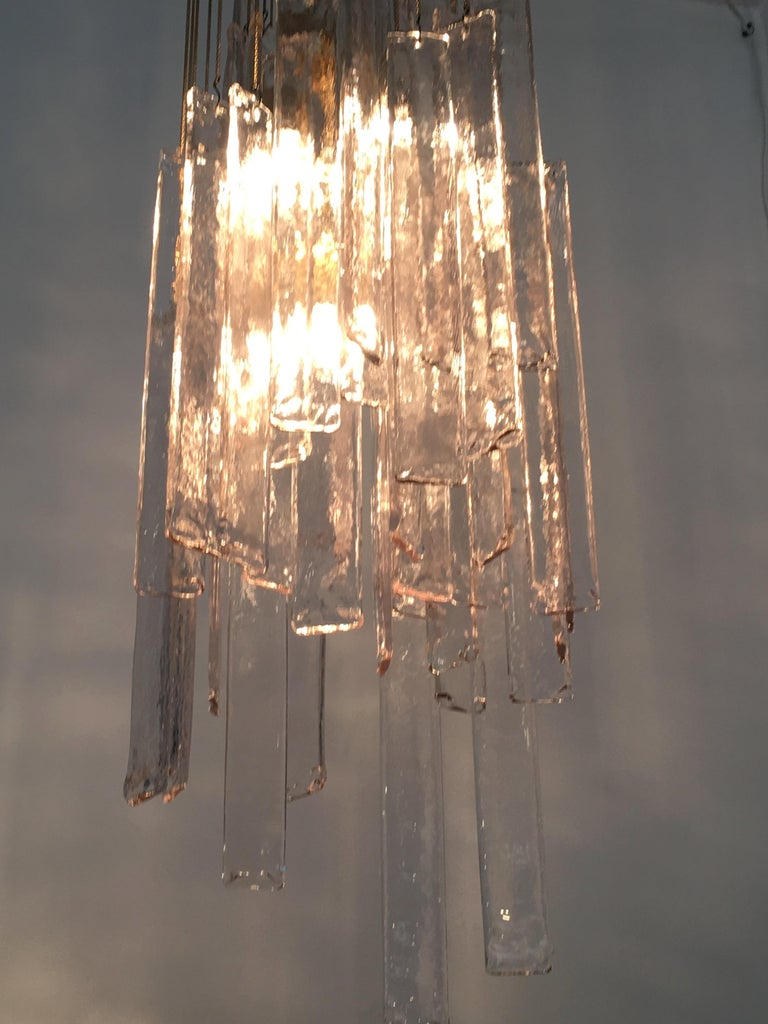Mazzega Cascade Italian Murano Glass Extra Long Chandelier For Sale 10