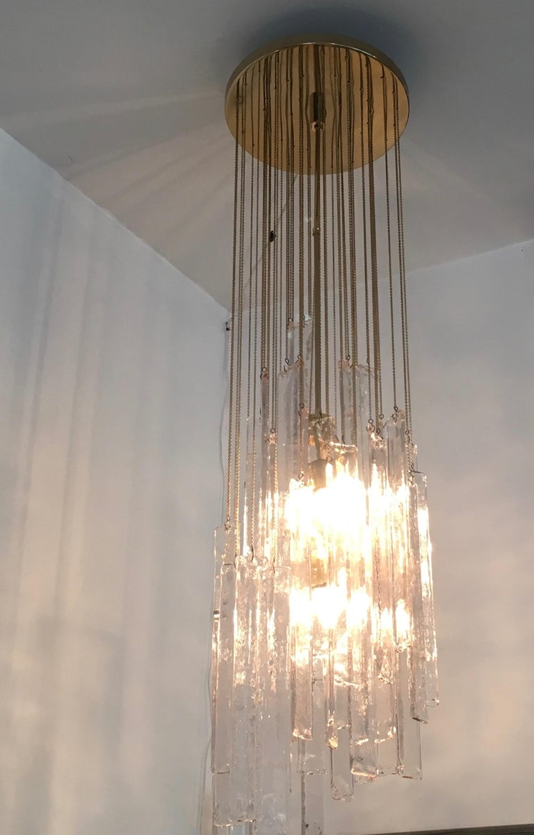 Mazzega Cascade Italian Murano Glass Extra Long Chandelier For Sale 11