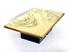 Heckscher Etched Brass Coffee Table Belgium circa 1970