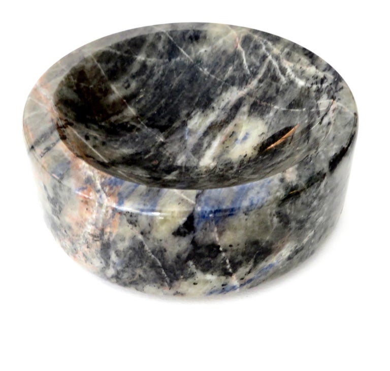 Italian Marble Bowl or Vide Poche Blue Lapis Colored Gray White Veined Marble For Sale 3