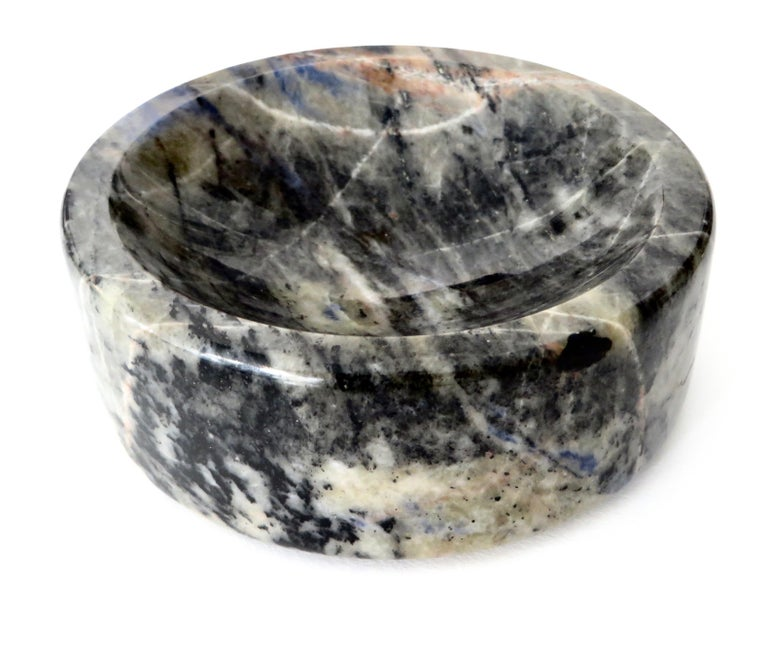 Italian Marble Bowl or Vide Poche Blue Lapis Colored Gray White Veined Marble For Sale 4