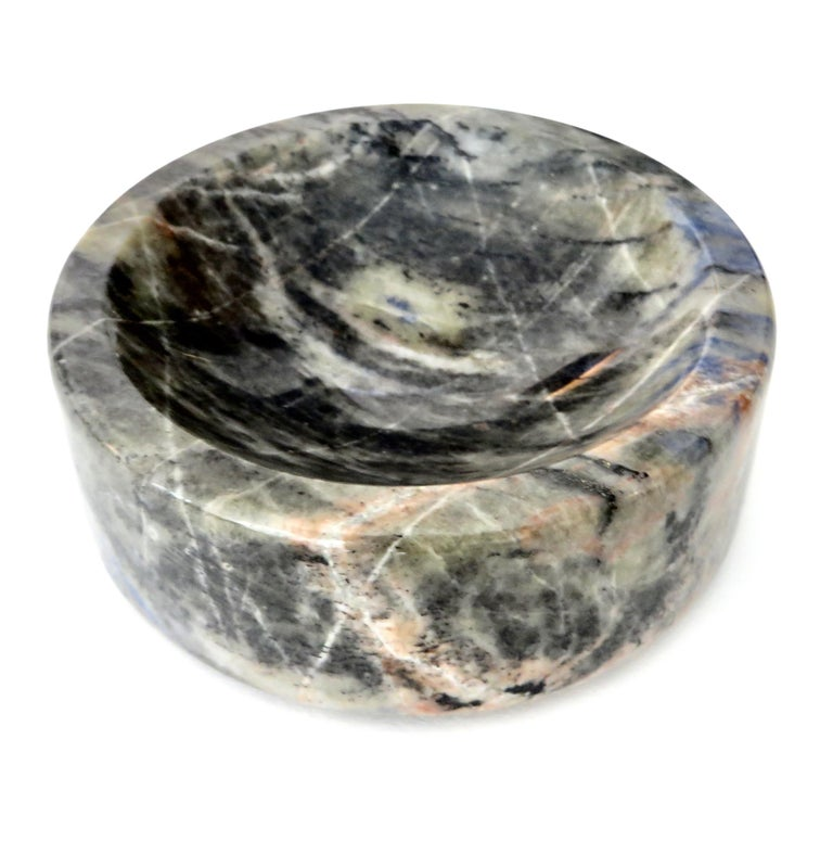 Italian Marble Bowl or Vide Poche Blue Lapis Colored Gray White Veined Marble For Sale 6