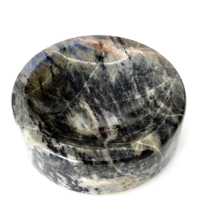 Italian Marble Bowl or Vide Poche Blue Lapis Colored Gray White Veined Marble For Sale 5