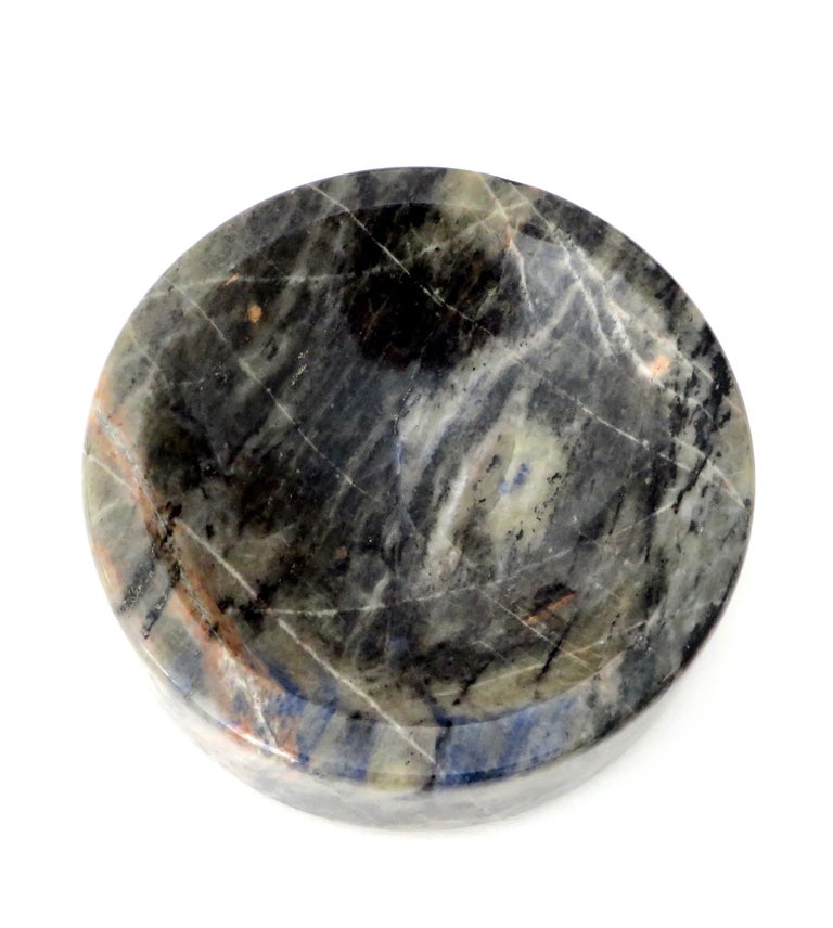 Italian Marble Bowl or Vide Poche Blue Lapis Colored Gray White Veined Marble For Sale 8