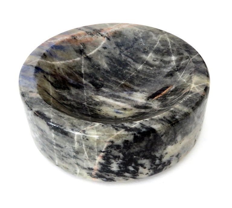 Italian Marble Bowl or Vide Poche Blue Lapis Colored Gray White Veined Marble For Sale 7