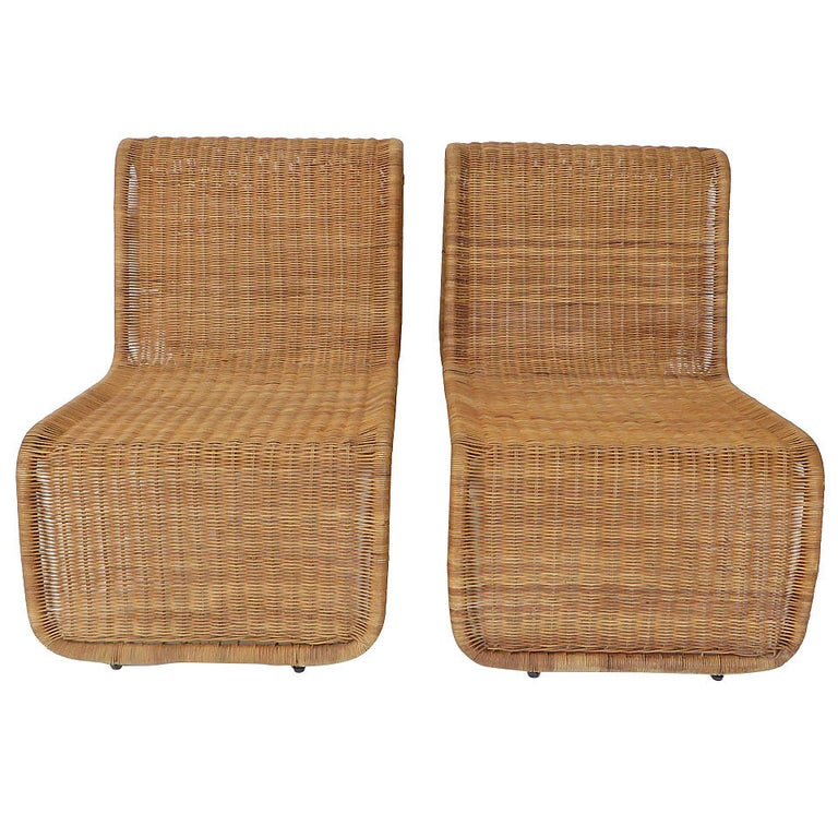 "Pair of Tito Agnoli Wicker or Cane Sculptural Lounge Chairs ""P3"" for Bonacina For Sale"